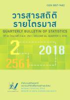 วารสารสถิติรายไตรมาส ปีที่ 66 ไตรมาสที่ 2 พ.ศ. 2561<br>(Quarterly Bulletin of Statistics Volum 66, Quarter 2, 2018)